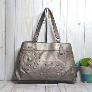 Coach Leather Studded Applique Carryall Bag F16273